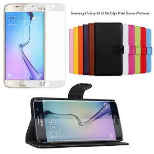 Funda-Cartera-de-Cuero-con-cierre-magnetico-soporte-para-Samsung-S6-S7-S6-S7-Pelicula-para-Pantalla