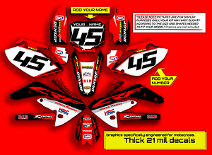 2003-2004-2005-2006-2007-CRF-150F-230F-GRAPHICS-KIT-FACTORY-RED-BLACK-DECALS