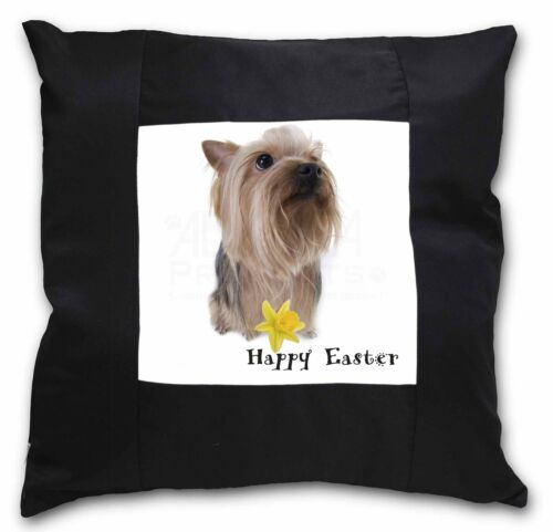 'Happy Easter' Yorkie Black Border Satin Feel Cushion Cover With P, ADY2DA1CSB