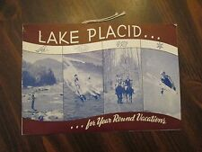 Lake Placid for Year Round Vacations Tourist Guide & Ski Jump Ticket 1950's