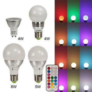 led rgb lampen e27 gu10 16 farben 4w 5w 8w farbwechsel licht gl hbirne spot ebay. Black Bedroom Furniture Sets. Home Design Ideas