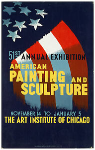 "Vintage Classic Art Print Poster ""...American painting and sculpture"" ca.1940"