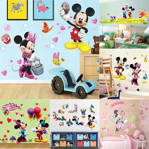 Image Is Loading Cute Mickey Minnie Mouse Wall Sticker Vinyl Decal
