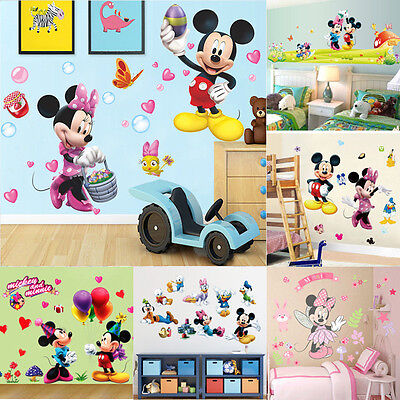 Cute Mickey Minnie Mouse Wall Sticker Pvc Mural Decal Kids Boys
