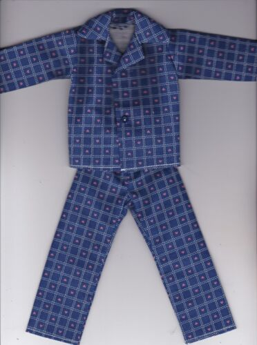 Homemade Doll Clothes-Blue With Tiny Hearts Print Button Pajamas fit Ken KP3
