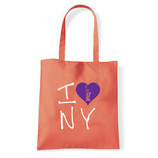 Art T-shirt, Borsa shoulder I Love NY, Corallo, Shopper, Mare