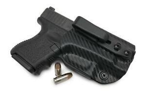 Black Leather Kydex Hybrid Gun Holster for Glock 26 27 33 Concealed IWB Tuck