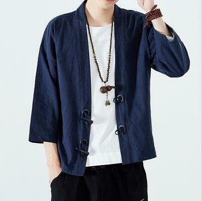 Chinese Mens Casual Linen Loose Tops Coat Retro Ethnic Stylish Pullover Shirts