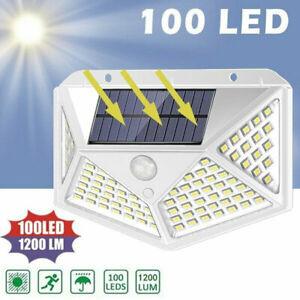 100-LED-Solaire-Detecteur-de-Mouvement-Pir-Lampes-Murales-Exterieur-Jardin-Eau
