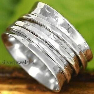 Solid-925-sterling-silver-wide-band-spinner-ring-meditation-statement-ring-GS69