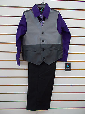 Toddler /& Boys Young Kings $45-$65 3pc Purple//GrayVest Suit Size 3//6m-20 Infant