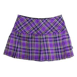 Tripp-NYC-80s-90s-Gothic-Punk-Purple-Tartan-Plaid-School-Girl-Mini-Skirt-Size-XL