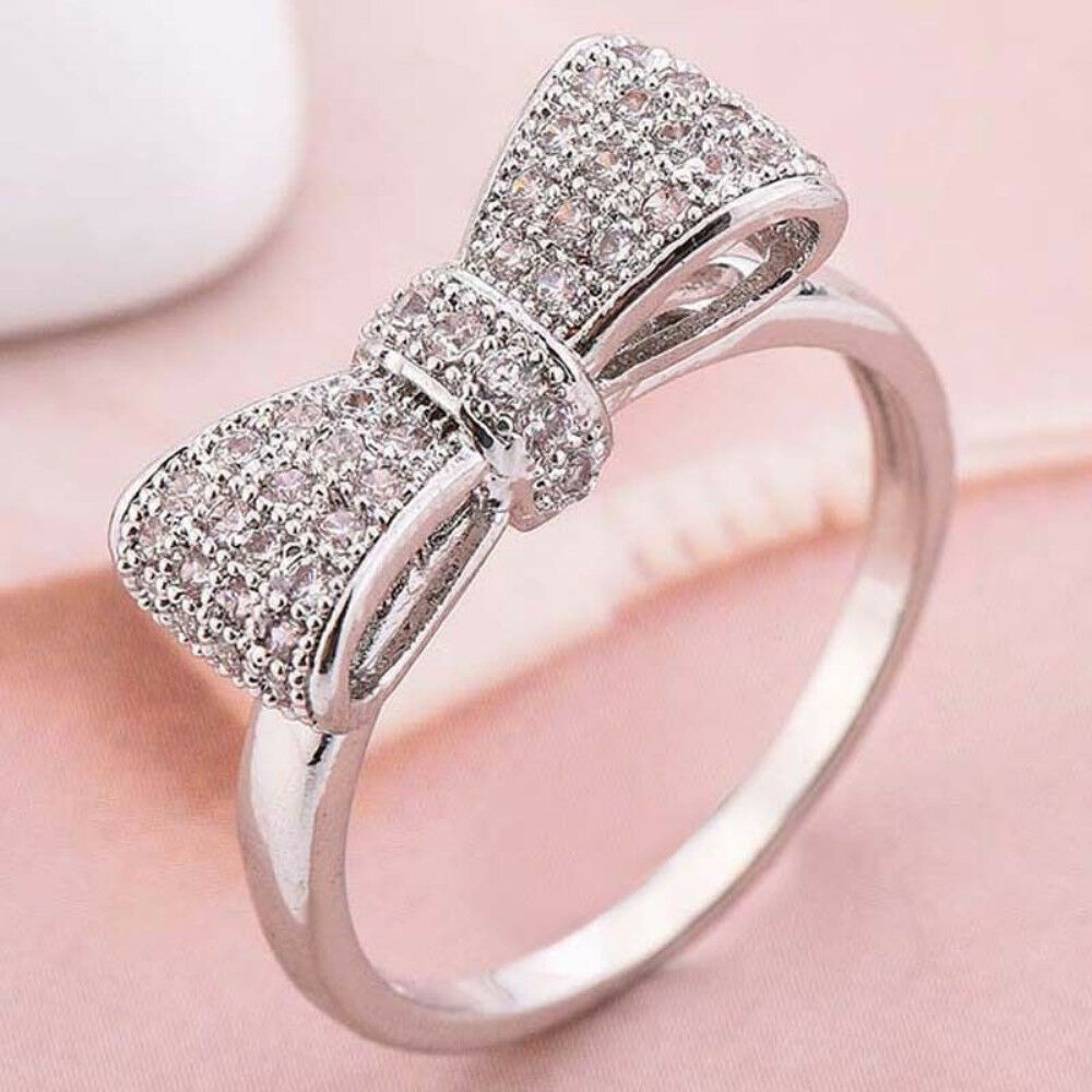 Women Fashion Bow 925 Silver White Sapphire Ring Wedding Engagement ...