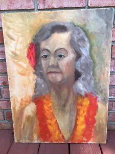 Vtg-1960s-Portraet-Malerei-Ol-auf-Leinwand-Damen-Blume-Maedchen-Gypsy-Hippie-18x24