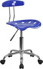 Vibrant Nautical Blue & Chrome Computer Task Chair w/Tractor Seat Chair NEW