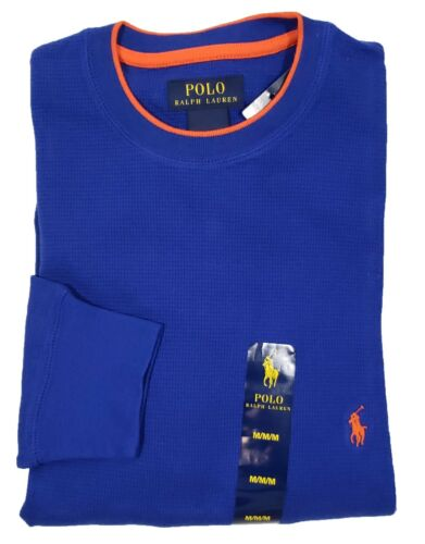 Polo Ralph Lauren Men/'s Royal Blue Tipped Waffle Thermal Long Sleeve T-Shirt