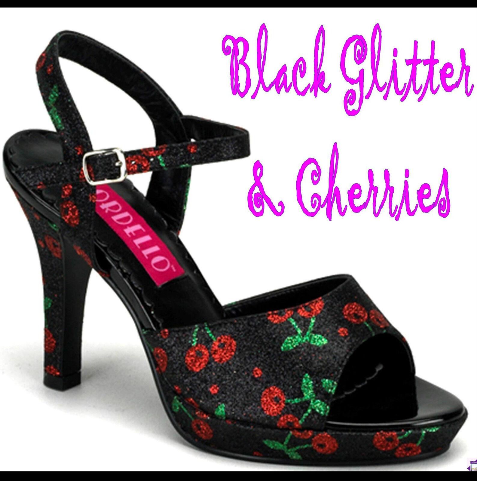 acquista marca AMUSE-05G nero GLITTER GLITTER GLITTER & CHERRIES .75  Mini Platform 4  Heel Sandals 8US=7AU  più preferenziale