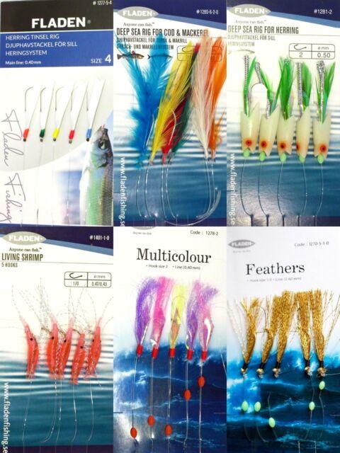 Pack B 6 Packs assorted feathers lure cod mackerel pollack herring sea fishing