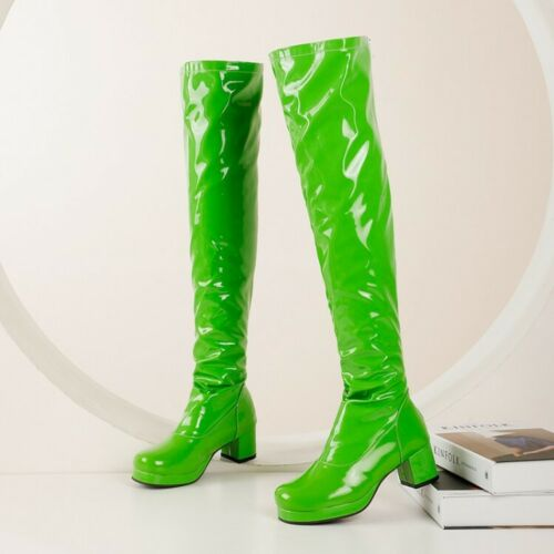 Women/'s Over The Knee Boots Block Mid Heels Back Zipper Patent Leather Shoes