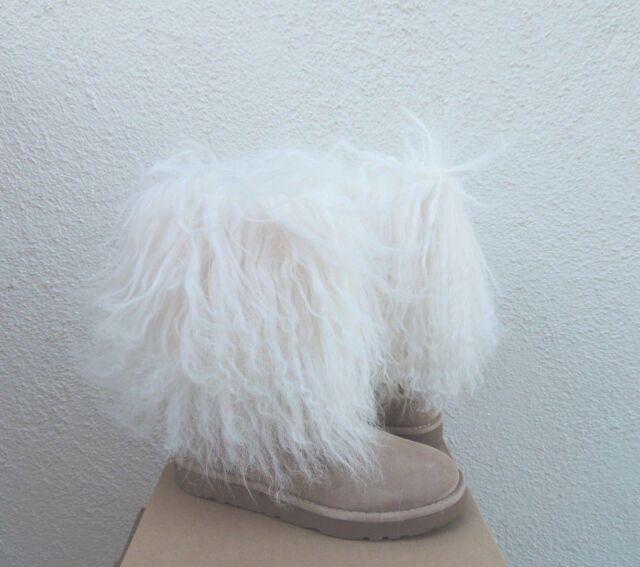 ugg lida classic short mongolian cuff boots us 8 natural rare ebay rh ebay com