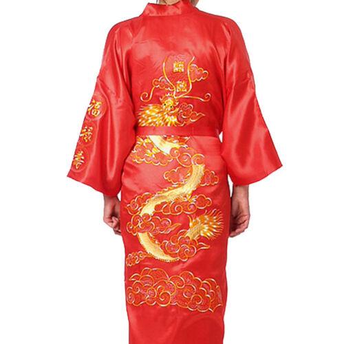 Plus Size Bademantel Nachtwäsche Vertuschen Chinesisch Großer Drache Seide