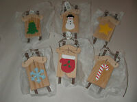 6 Pc Lot Wooden Mitten Tree Star Snowman Sleds Christmas Tree Ornaments 4