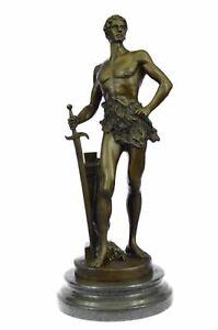 signed Figure of Semi Nude Warrior Bronze Sculpture; Constant Maurice Joseph