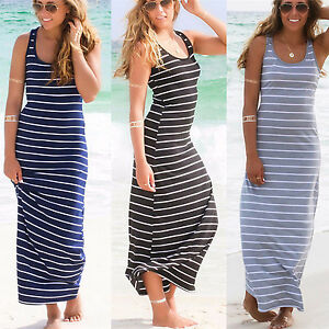 3a091544ebf AU Women Boho Maxi Dress Striped Ladies Summer Beach Casual Party ...