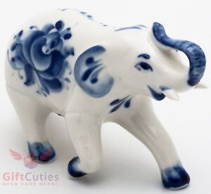 Elephant Collectible Gzhel Porcelain Figurine hand-painted