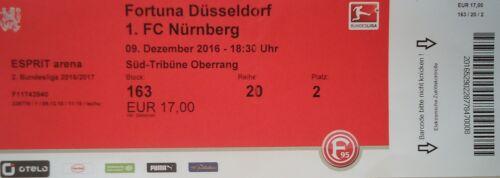 TICKET 2 BL 2016//17 Fortuna Düsseldorf FC Nürnberg