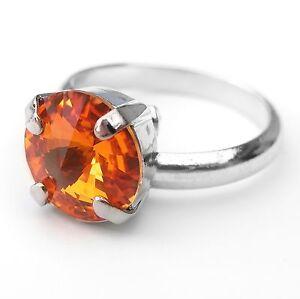 Mutig Neu Größenverstellbar Ring Mit 10mm Swarovski Stein Tangerine/orange Damenring