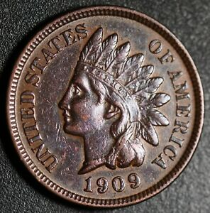 1909 INDIAN HEAD CENT - With LIBERTY & Near 4 DIAMONDS - AU UNC