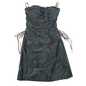 Roland-Nivelais-Womens-4-Silk-Strapless-Cocktail-Dress-Ruffled-Black-Side-Ties