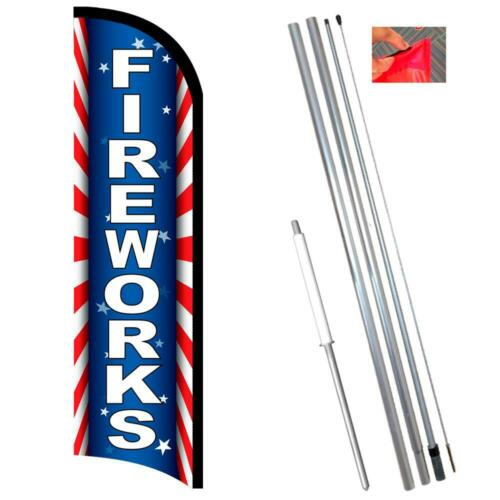 Premium Windless-Style Feather Flag Bundle 14/' OR Replacem Fireworks Starburst