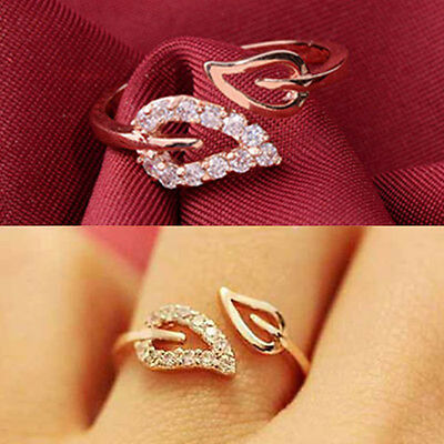 2015 Fashion Womens Gold Plated Crystal Rhinestone Leaf Finger Ring Jewelry Gift