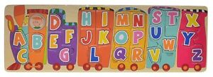 Puzzle-in-legno-grande-a-incastro-26-lettere-alfabeto-treno-made-in-Spagna