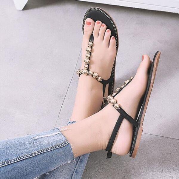 Sandali  tacco basso infradito perle nero comodi pelle sintetica CW548