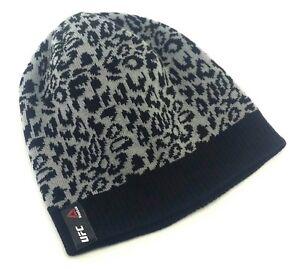 d79b3e12e Details about UFC Reebok MMA Octagon Woman Ladies Cheetah Gray Black Knit  toque Beanie Hat Cap
