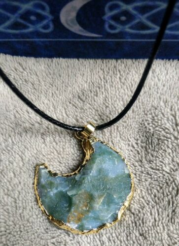 Green Moss agate raw moon Necklace Pendant Crystal Healing Spiritual Support