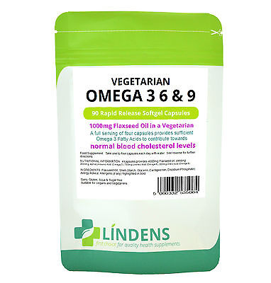 Vegetarian Omega 3, 6 and 9 (Flaxseed Oil) 1000mg (90 pack) [Lindens 5064]