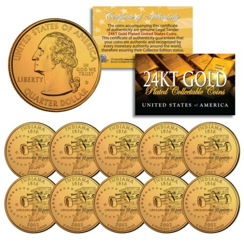 2002 Indiana State Quarters U.S Quantity 10 Mint BU Coins 24K GOLD PLATED