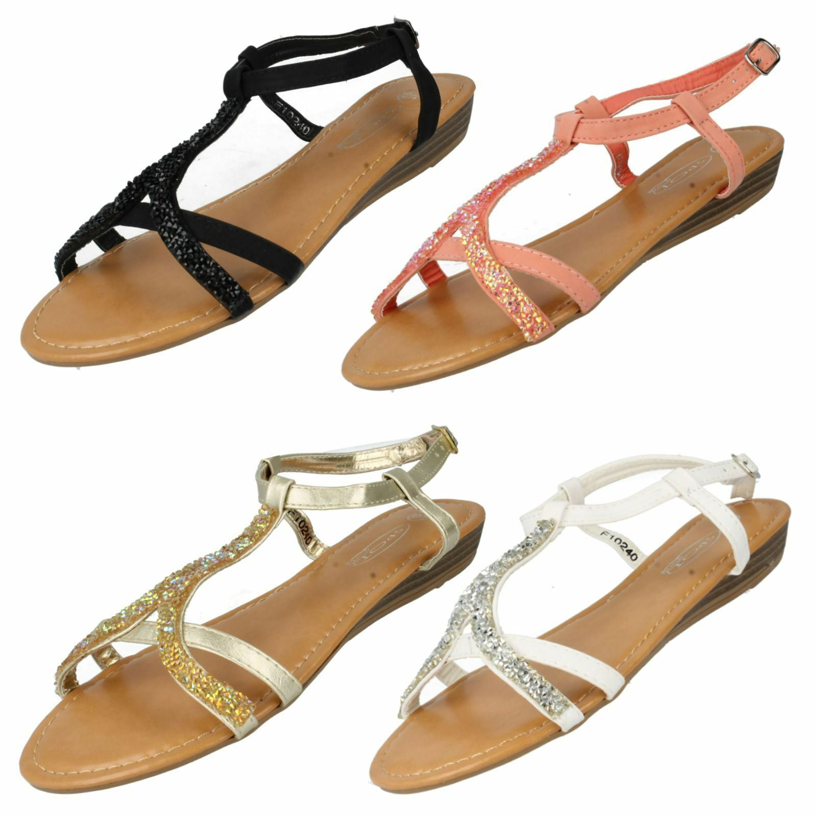 Spot On F10240 Sandals Ladies Ankle Strap Sandals F10240 White, Gold Or Pink UK3-8 (R12B) 7ee225