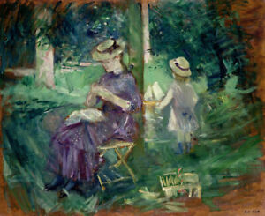 Woman-And-Child-In-A-Garden-Berthe-Morisot-Fine-Art-Print-on-Canvas-Giclee-Repro
