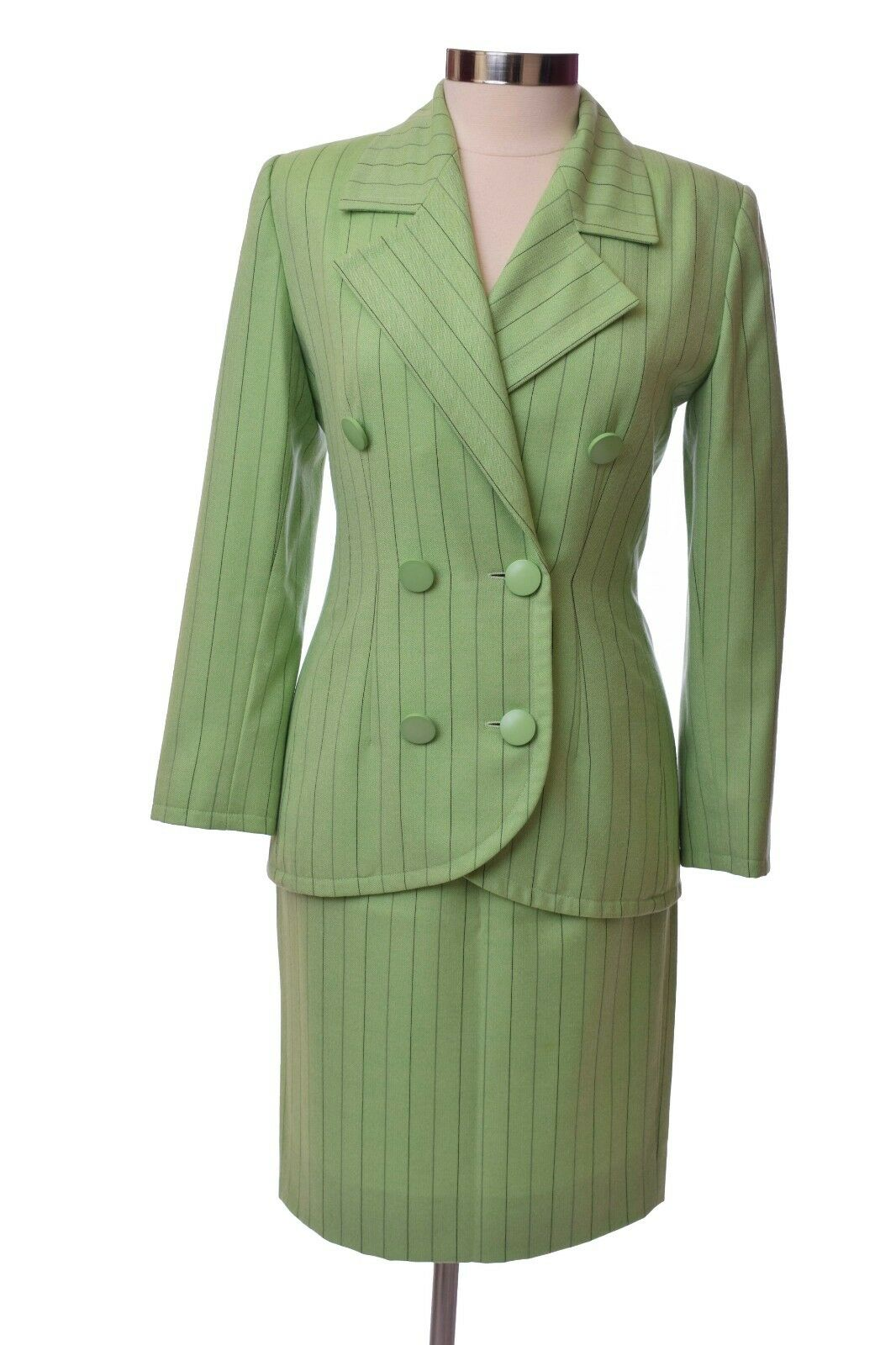 Vintage Green  Couture Givenchy Skirt Suit  Set Size Small