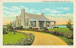 NEW-BERN-NORTH-CAROLINA-WOMENS-CLUB-BUILDING-1949-PMK-ZAYTOUN-PRE-LINEN-POSTCARD