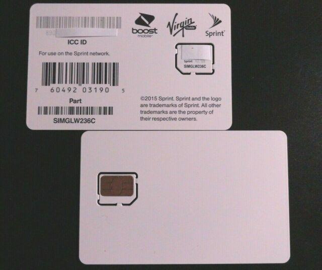 Sprint SIMGLW236C Micro Sim Card for Sprint, Boost, Virgin, Ting, Flash,  Ring Plus