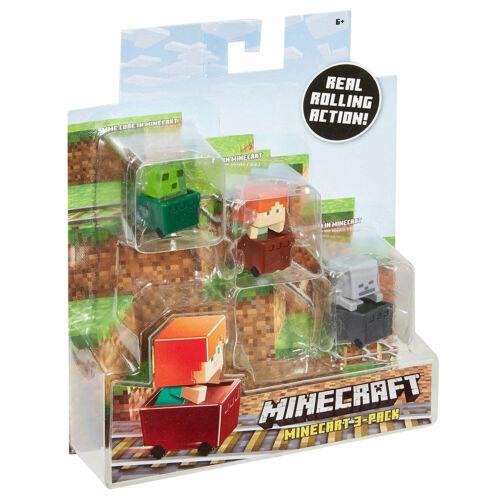 Slime Cubo Minecraft MINI-Figura in Vagonetto DECAUVILLE 3-Pack Alex /& Skeleton