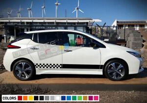 2x Stripes Sticker Decal Side Door Sport design Compatible with Nissan LEAF 2016 2017 2018 hood sunroof