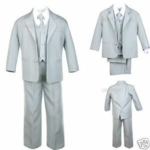 BABY, TODDLER & BOY WEDDING  PARTY FORMAL no tail TUXEDO SUIT LT. GRAY  S -20