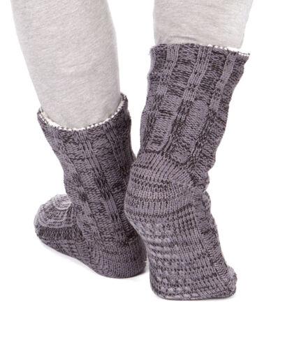 Homme à grosses mailles entièrement doublée en polaire hiver Chaussons Chaussettes